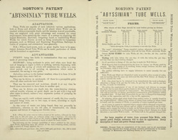 Advert for Norton's Abyssinian Tube Wells, reverse side